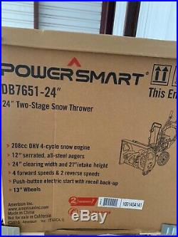 Power Smart DB7651 24 208cc LCT Two-Stage Snow Thrower with Electric Start